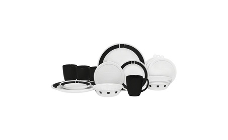 Corelle 20 Piece Livingware Dinnerware Set with Storage, Urban Black,