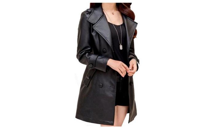 Women's Long Slim Style PU Leather Coat