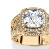 3.27 TCW Cushion-Cut Cubic Zirconia Cocktail Ring 14k Gold-Plated