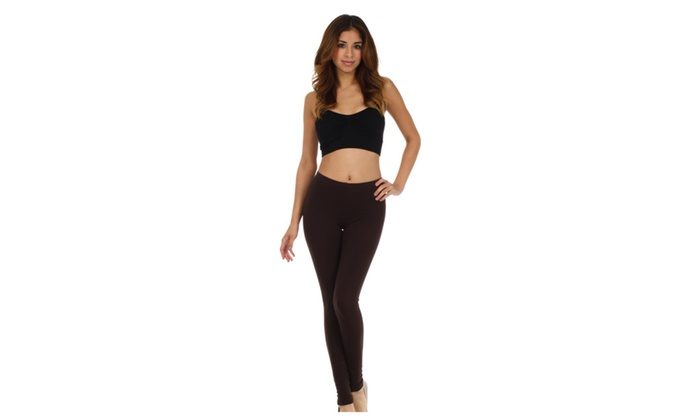 Cotton Lycra Blend Solid Color Footless Stretch Leggings - Made in USA