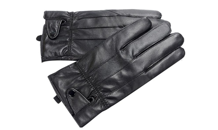 Men's Medium Solid Simple Casual Five Finger Gloves - Black / One Size