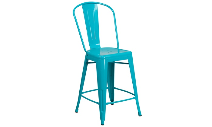 Enjoyable 24 High Metal Indoor Outdoor Counter Height Stool With Machost Co Dining Chair Design Ideas Machostcouk