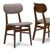 Sacramento Dark Walnut Wood Grey Fabric Dining Chair (Set of 2)