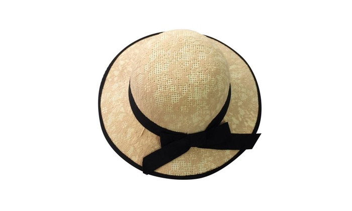 Womens Straw Boater Sun Hat with Lace Tulle