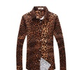 Men's Leopard Print Casual Long Sleeve Fitted Button Down Shirt