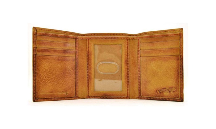 02be8dacd9d7 Rawlings Baseball Stitch Leather Trifold Wallet - Brown