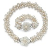Genuine Cultured Freshwater Pearl Multi-Strand Two-Piece Jewelry Set