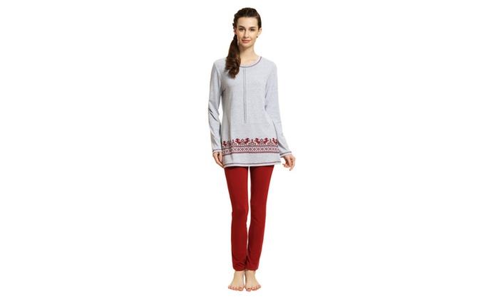 Women's Round Neck Printed Cozy Homewear Pajamas Set