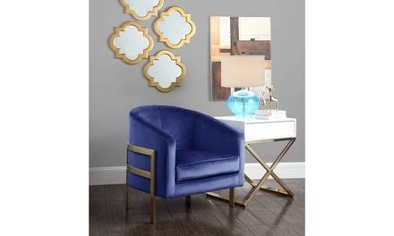 Sebastian Modern Steel Frame Velvet Bucket Club Chair
