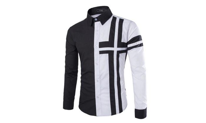 Men's Slim Fit Long Sleeves Colorblock Casual Shirts