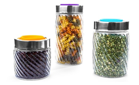 3 Pc Glass Canister Jars Cookie Jars Swirl Design Set W/ Colored Lids 7677a3ad-46d5-47f7-a071-9a44f3f4648d