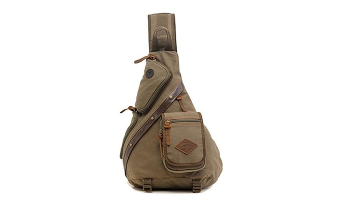 Multi-functional Canvas Leather Single-shoulder Chest Pack for Hiking