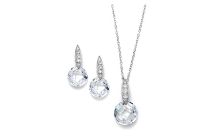 Faceted Crystal Drop Necklace and Earrings Set with Cubic Zirconia f10334d4-6239-420b-964d-e6bb7c9353f2