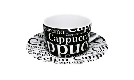 Set of 4 Cappucino Cups & Saucers Café Latte Writing on Black 34f46ee6-5b46-47cf-bc47-89530edd32e8