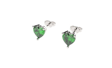 Sterling Silver Stud Earrings with Heart Cut Emeralds