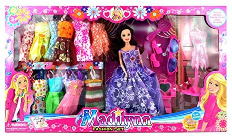 Madilynn Fashion Children's Kid's Toy Doll Playset w/ 16 Different Dress Outfits 44ef7992-356d-4320-a95d-aedcc5ce81b2