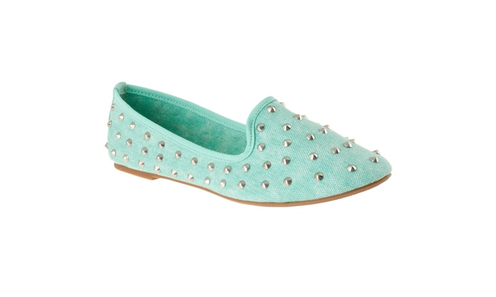 riverberry s kiwi studded canvas shoes mint groupon