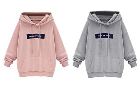 Women's Plus Size Long Sleeve Letters Printed Hoodie Sweatshirt edca5b9c-ff9b-4467-ace2-4c75dac9eee8