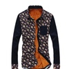 Willmama Men's Long Sleeve Shirttail Hem Floral Printed Casual Shirt