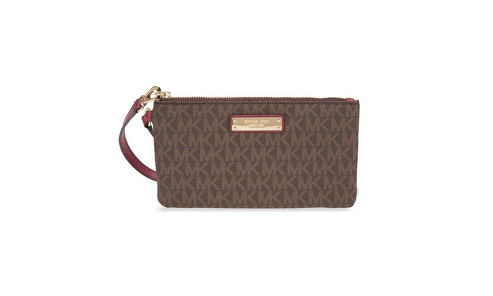 191a902a3b88 MICHAEL Michael Kors Signature Jet Set Item Medium Wristlet | Groupon