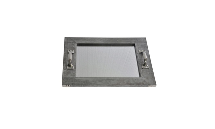 Clickhere2shop: Cheungs Rectangular Metal Tray with Mirror Base and Two Handles