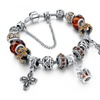 Luxury Silver Charm Bracelet Crystal Beads Cross Jewelry Bangles