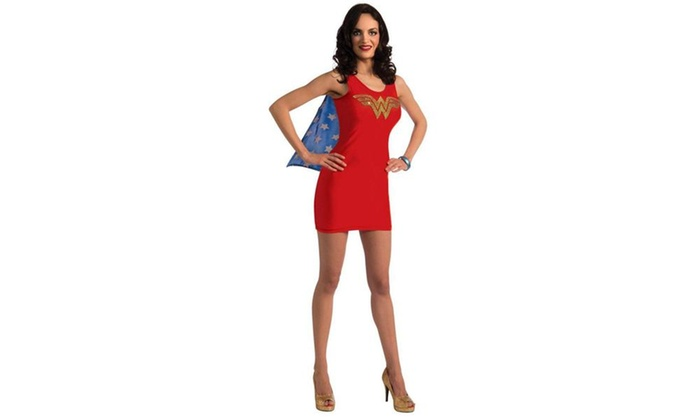 dc comics wonder woman tank dress rhinestone logo adult costume rh groupon com Wonder Woman Costume for Women Professional Wonder Woman Costume