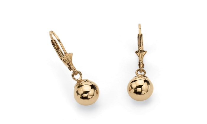 Ball Drop Earrings In 18k Gold Over 925 Sterling Silver