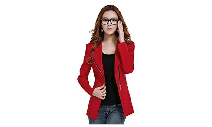Womens Metal Zip Skinny Jackets Long Sleeve Blazer Suit Coat - Red / Small