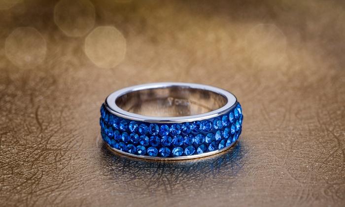 e20d3909511b0 Nina & Grace Bermuda Blue Crystal Ring Made with Swarovski Crystals ...