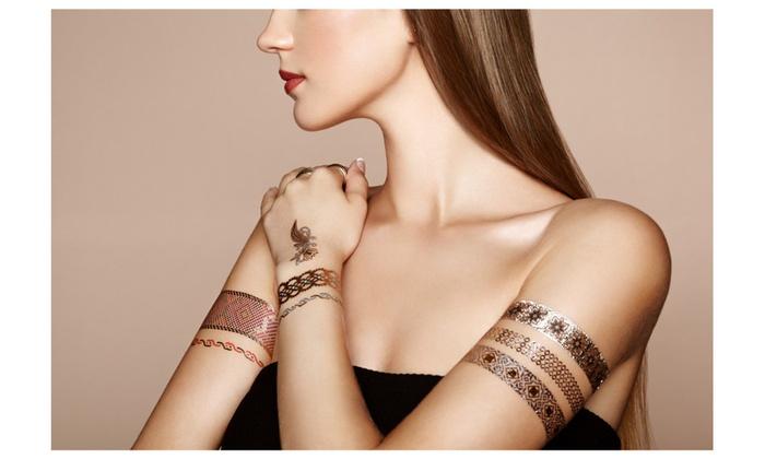 Henna metallic flash tattoos stickers