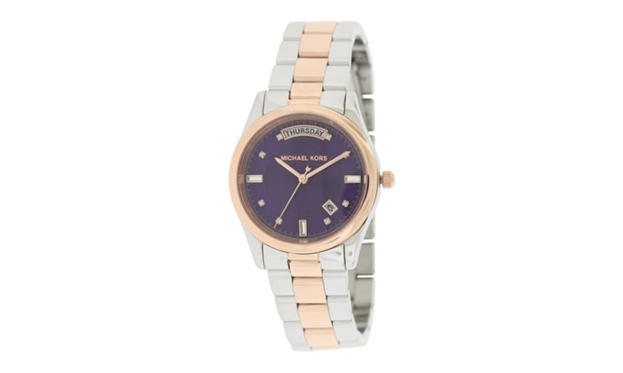 Michael kors colette two tone ladies watch mk6072 groupon for Michaels craft store watches