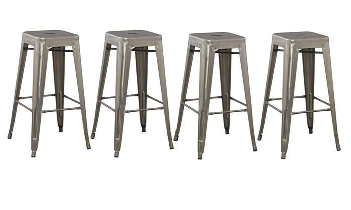 30 Inch Modern Industrial Metal Bar Stool Set Of 4 Groupon
