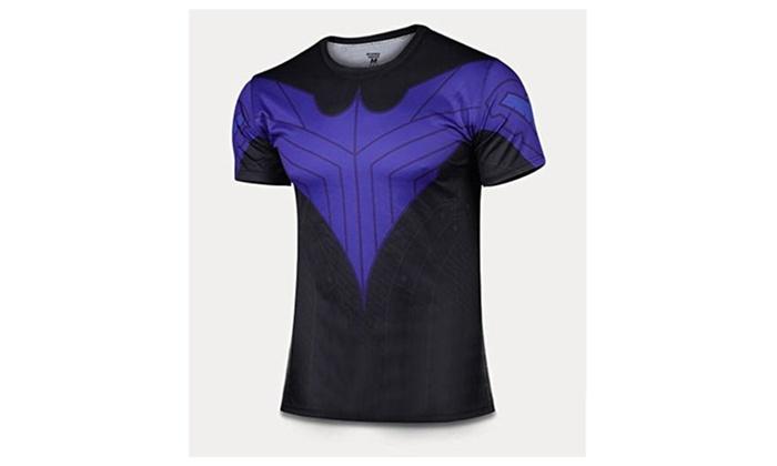 G-LIKE Jutice League Batman Blue Bird Nightwing Short T-shirt Tops - Black with Blue / XX-Large
