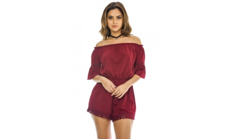 AX Paris Women's Off The Shoulder Romper ba02e895-b18d-44bb-8050-85608013320e