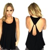 Women's Loose Knit Tees Sleeveless Vest Solid Backless Tank Top