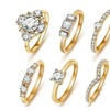 Exquisite Set Of 6 Rings 18k Gold Plated And Quality Cut Zircon