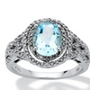 2.50 TCW Genuine Blue Topaz Platinum over .925 Sterling Silver Ring