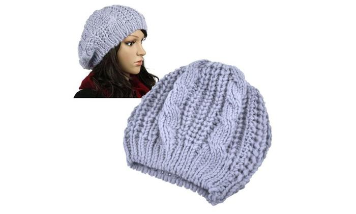 Zodaca Light Gray Warm Knit Beret Hat Beanie Crochet Ski Baggy Cap