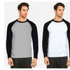 Men's Plain Baseball Athletic Full Sleeve Raglan Tee Shirt ( 3 PACK )