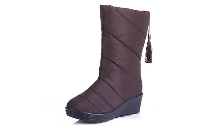 Elais J Womens Canvas Mi-Boots Down Bootie
