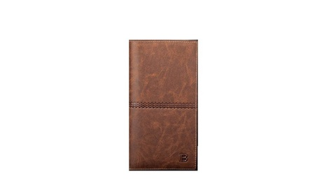 New Men's Leather Bifold ID Card Holder Long Wallet Purse Checkbook (Goods Men's Fashion Accessories Wallets) photo