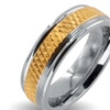 Polished Stainless Steel Gold Plated Grooved Center Wedding Band (6mm)