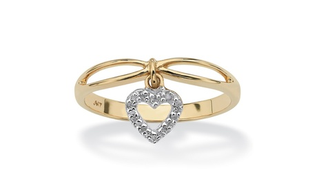 Diamond Accent 10k Yellow Gold Heart Charm Promise Ring b3f6b0ff-ea86-436b-8839-7b6aacd1fa14