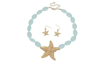 Starfish Charm Point Glass Beads Necklace Set
