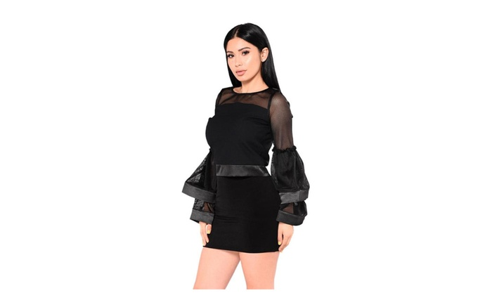 Women Sexy Net Yarn Stitching Two Pieces Suit