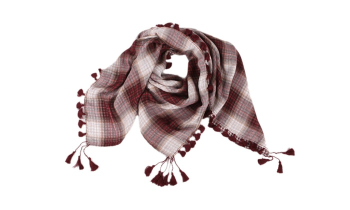 Women's Lightweight Cotton Grid Square Blanket Scarf Wrap