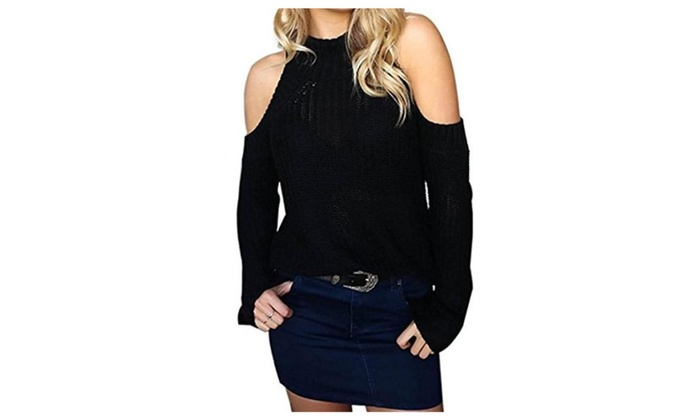 Womens Cold Shoulder Pullover Long Sleeve Cable-knit Sweater