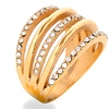 Stainless Steel Crystal 5-Layered Ring