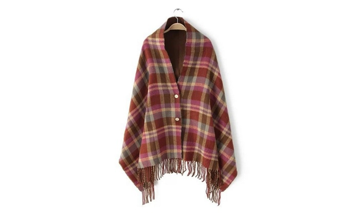 Women Hooded Cape Coat Knitwear Cloak Tartan Check Shawl Tassel Wrap